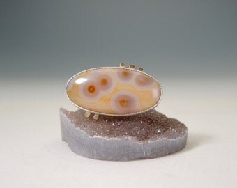 Translucent Ocean Jasper Ring, Sterling Silver, 14kt Gold, Yellow, Orange, Lilac