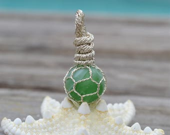 English Sea Glass Marble Japanese/Norwegian Fishing Ball Float Pendant/Necklace - Green and White Swirls .925 Sterling Silver