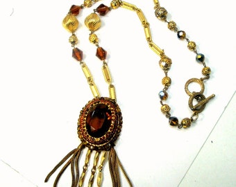 Glass Topaz and Gold Tassel Pendant on Ornate Beaded Chain,  1960s Artsy and Elegant Necklace