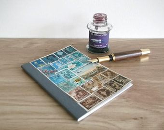 Turquoise Brown Landscape - Lined A6 Notebook Stamp Art