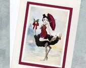 Ostrich Greeting Card - Blank Card - Big Eyes Art - Arriving In Style