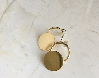 Circle Studs. Button Studs. Golden Brass. Brass Earrings. Sterling Posts. Geometic. Modern. Minimal. Everyday Earrings. Button Studs.