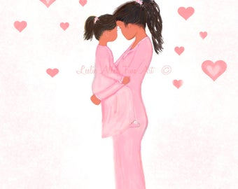 "Mother Daughter Art Print Wall Art Children Big Sister Mom Mothers Day Mother Daughter Cuddling  ""SWEET SNUGGLE BUG"" Leslie Allen Fine Art"