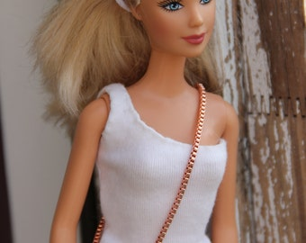 """Crossbody Flower Copper Metal Doll Purse Wallet with Chain Strap for 1:6 scale Fashion dolls  11 1/2"""" - 12 inch Dolls"""
