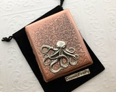 Big Octopus Cigarette Case Antiqued Copper Case Vintage Inspired Style Large Metal Case Octopus Case Gothic Victorian Steampunk Wallet NEW