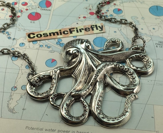 Big Silver Octopus Necklace Large Size Silver Plated Vintage Reproduction Steampunk Necklace Made In USA Nautical Sea Life Vacation Jewelry