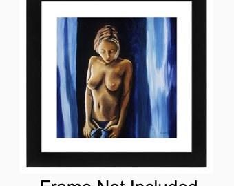 Female Nudity, Female Nude, Erotic Nude Art, Female Figure, Full Frontal Nudity, Figure Art, Print, Sexy Bedroom Art, Titled- Titillation