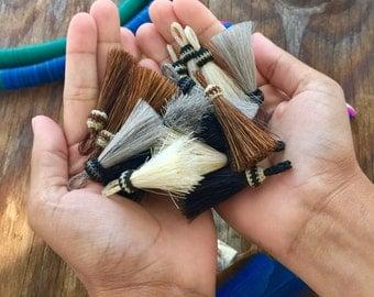 "Mini Rustic Horse Hair Tassel, 2"", Handmade Tassel with Braided Top, Neutral Colors / Western, Bohemian, Gifts, Supplies, Keychain, 1pc"