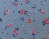 Vintage Chambray with Red Roses Motif Cotton Print Fabric 2-1/4 yards