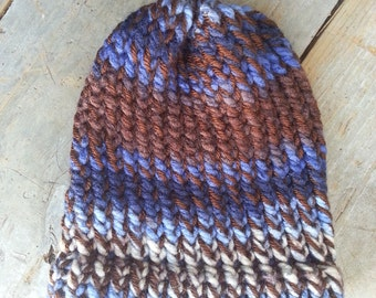 Brown Blues Bone Baby Hat Toboggan - OOAK MWL from an EtsyMom