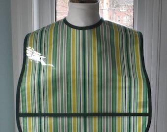 Awning Stripe Extra Large Adult Bib - vinyl covered extra-large bib with pocket