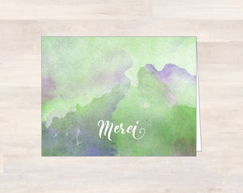 MERCI, Watercolor Thank You Cards, Blank Watercolor Note Cards, Purple/Green/Blue Watercolor Cards, Note Card Set, Blank Notecards, French