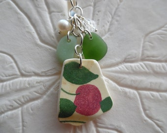 Sea Glass Cluster Necklace Pottery Shard Jewelry Beach Charm Pendant