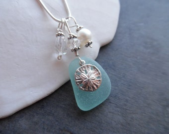 Aqua Blue Sea Glass Necklace Sand Dollar Beach Seaglass Jewelry