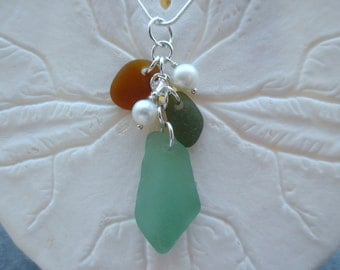 Teal Cluster Sea Glass Necklace Jewelry Turquoise Blue Beach Pendant Sterling