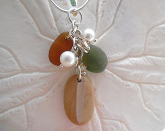 Amber Sea Glass Necklace Beach Pottery Shard  Pendant