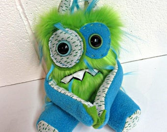 Nervous Monster Plush - Handmade Grumpy Monster - Lime Green & Turquoise Faux Fur Monster - OOAK Doll - Hand Embroidered Toy - Weird Plush