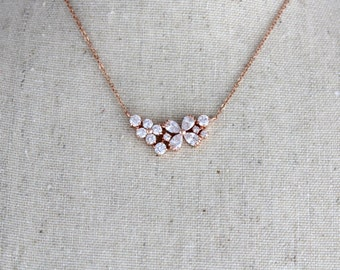 Simple Rose Gold necklace, Bridal necklace, Bridesmaid necklace, Bridal jewelry, Rose Gold jewelry, Wedding necklace, Bridal Party Gift