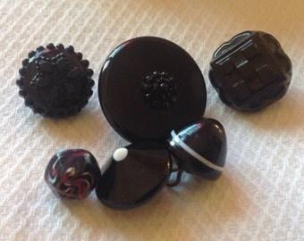 Swirlbacks - Antique Black Glass Buttons - 6 Swirlback Black Glass Buttons