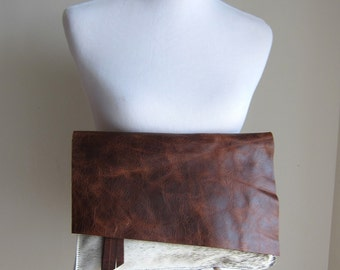 LEATHER Large Oversized Huge Clutch Bag Purse Shoulder Strap Cross Body - Raw, Rustic w/ Fringe - Hair on Hide Leather