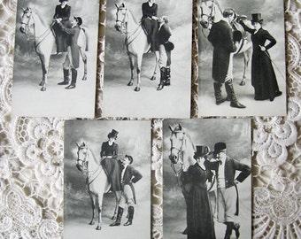 Antique horse photo postcard set, Rare horse postcard set,  Edwardian horse lady postcard set, Female equestrian, Antique amazon postcard