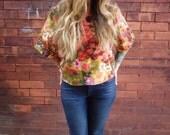 3/4 Vintage Sleeve Floral Printed Scoop Neck Mod Crop Top Shirt Plus Size Shirt Retro Shirt Eco Shirt Floral Blouse Women's Top Linen Shirt 
