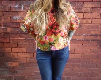 3/4 Vintage Sleeve Floral Printed Scoop Neck Mod Crop Top Shirt|Plus Size Shirt|Retro Shirt|Eco Shirt|Floral Blouse|Women's Top|Linen Shirt|