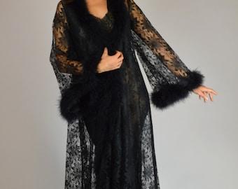 Vintage Robe, Burlesque Robe, Black Robe, Feather Robe, Black Lace Robe, Sheer Robe, Pin Up Robe, Boudoir Robe,