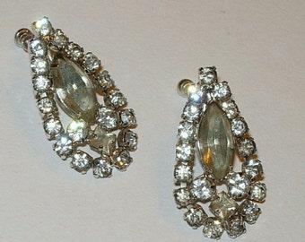 Vintage Earrings with Crystal Rhinestones - Screw Backs