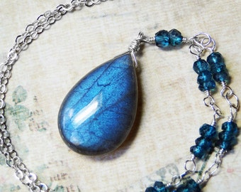 """Labradorite Necklace, London Blue Topaz, Sterling Silver--""""Blue Blue Ocean"""" by CircesHouse on Etsy"""