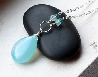 "Aqua Chalcedony Necklace With Gemstones on Sterling Silver - ""Laguna"" by CircesHouse on Etsy"