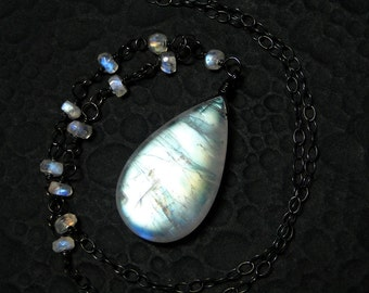 Moonstone Necklace, BIG Rainbow Moonstone, Sterling Silver - Moon at Dawn by CircesHouse on Etsy