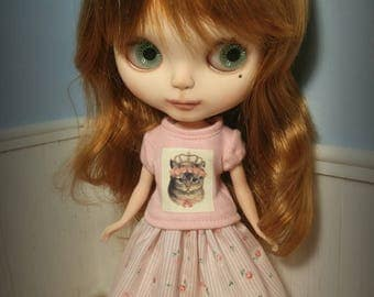 Pink Kitty Princess Outfit for Neo Blythe Doll Shirt Skirt