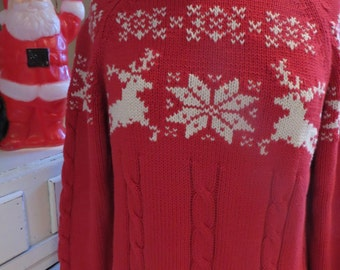 Vintage Ugly Christmas Sweater - Reindeer Snowflake Motif - Sz M - Same Day Ship - Ugly Sweater Christmas Party - Red & White Turtleneck