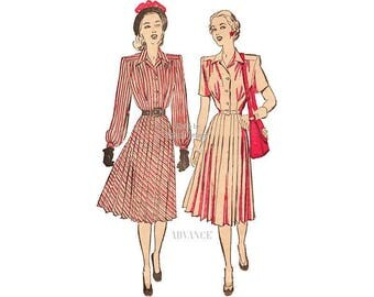 1940s Pleated Dress Pattern, Advance 4592, Short or Long Sleeve Dress Vintage Sewing Pattern