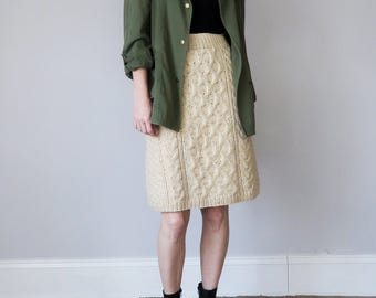 60s wool cableknit fitted skirt (s - m)