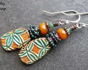 Boho Chic Gypsy Patterned Ceramic Wire Wrapped Earrings, Teal and Orange Ceramic Patterned Charms Czech Glass Earrings