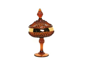 "12"" Amber Glass Candy Dish, Diamond Point Pedestal Indiana Glass Co. Golden Elegance, 24 Karat Gold Band, Mid Century Glass"