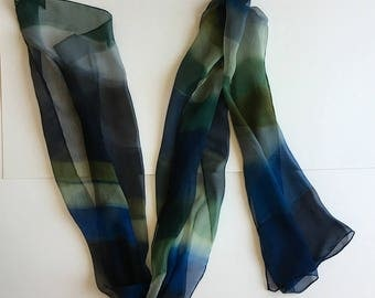 Silk chiffon scarf- Navy Stripes Hand painted scarf, Blue gray silk scarf, Abstract scarf, Lightweight scarf, Dark scarf, Gothic accessory