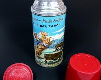 1954 Vintage ROY ROGERS & Dale Evans Double R Bar Ranch Thermos Vacuum Bottle, Trigger Horse, Cowboy Western, Collectible Man Cave Decor