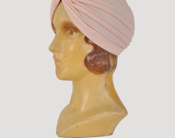 1970s pink turban / Norma Desmond style turban hat / 70s 80s stretch turban