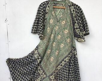 Vintage 70s India Cotton Gauze Ethnic Indian Flutter Dress