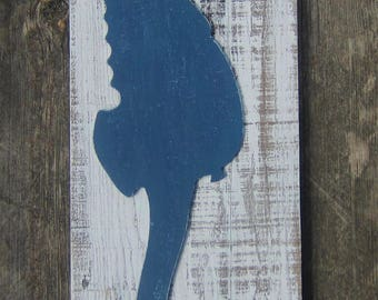 SEAHORSE Pallet Wood Wall Art - Original Hand Crafted Hand Painted Rustic Coastal Decor - Large Size 24X9