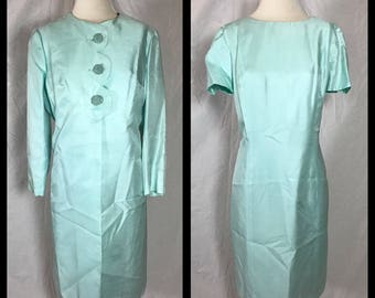 1960s Alfred Werber Special Occasion Dress and Jacket in Icy Mint Green with Decorative Woven Buttons - Size Medium