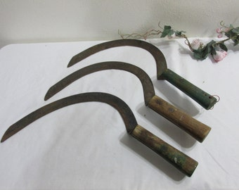 Hand Scythe Wood Handle Curved Blade Weed Cutter Choose One