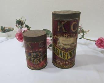 Tins Baking Powder K C Set of 2 Cans
