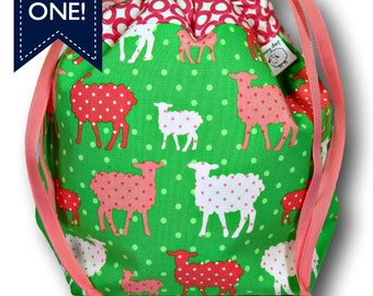 Preppy Sheep - One Skein Project Bag for Knitting, Crochet, or Sewing