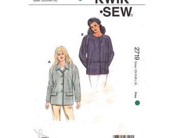 Womens Jacket Pattern Kwik Sew 2719 Casual Shirt Jacket Extended Shoulders Button Front Coat Womens Sewing Pattern Size XS S M L XL UNCUT