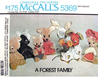 Woodland Forest Animal Toy Pattern McCalls 5369 Wolf Squirrel Mouse Skunk Rabbit Woodchuck