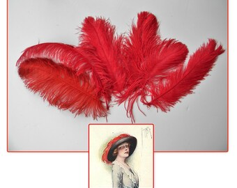 Vintage red ostrich plumes feathers millinery supply lot of 6